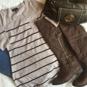 Takeout Tunic Striped Pocket Blouse Tan Med Used